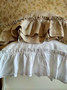 Pillowcase-Linen-RUFFLE-PILLOW-SHAM-Envelope-Washed-Rustic-Cushion-Cover