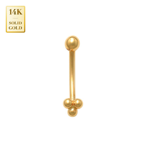 14K Real Solid Gold Floral Trinity Curved Barbell Earring Eyebrow Piercing 16G