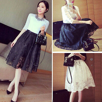 Women Lace Double Layer Pleated Retro Plaid Long Elastic Waist Skirts Fashion