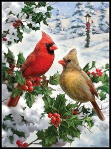 Cardinal-Couple-Chart-Counted-Cross-Stitch-Pattern-Needlework-Xstitch-Craft