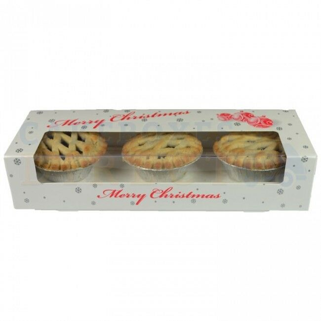 100 x XMAS MINCE PIE BOXES  FREE NEXT DAY DELIVERY IF ORDER PLACED BEFORE 1 PM