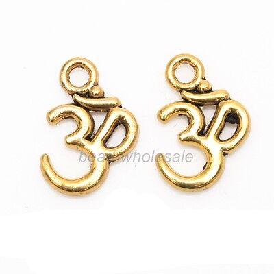 100pcs Antique Silver/Gold/Bronze ohm om Yoga Sign Charms Pendants 16x10mm