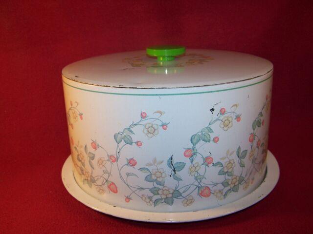 Corning/Corelle Strawberry Sundae Cheinco Vintage Metal Cake Cover Keeper