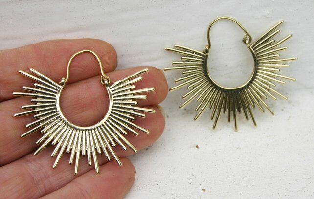 Brass Gypsy Hoop Large Earrings - Boho, Ethnic, Tribal, Festival, Ladies Gift Q2