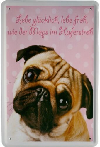 Lebe glücklich Mops lebe froh Dog Hund Blechschild 20x30 cm Metallschild 1028