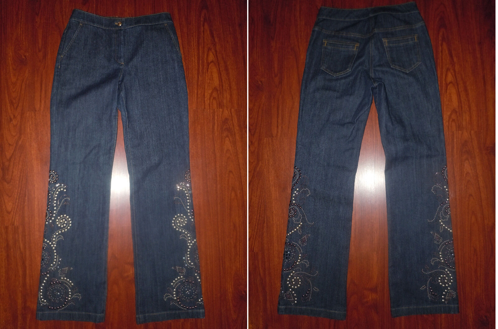 ST. John by Marie Gary Womens Denim bluee Jeans with Studs Sz 4 33 Cotton Blend