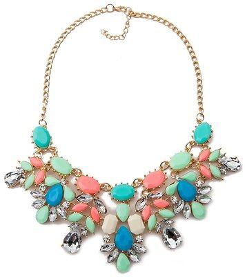Stylish Women Crystal Resin Flower Statement Chain Choker Necklace Pendant S375