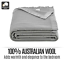 thumbnail 3 - Trafalgar 100% Australian Wool Blanket Single/Double Warm Soft Breathable Grey