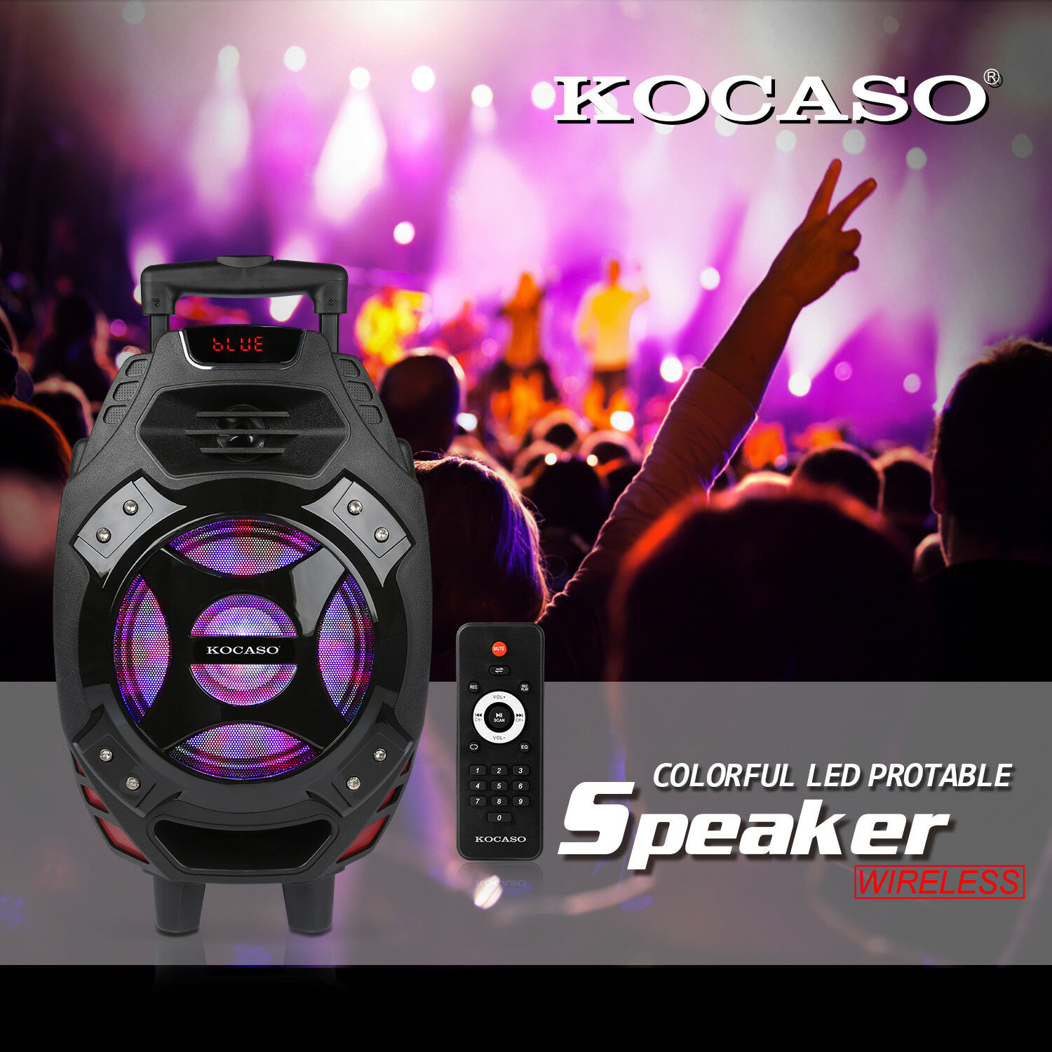 Rechargable Portable 18  blueetooth Party Speaker DJ PA System with LED Light Mic