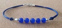 ROYAL BLUE AGATE Beads, Blue Leather Cord, Silver Plated, Friendship Bracelet