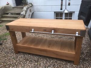 Details about 6 foot HUGE English OAK butchers block kitchen island table  storage furniture