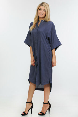 Women/'s Oversized Shirt Dress with Side Seam Button Detail WD7172