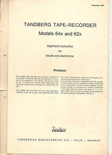 Tandberg Reel To Reel Tape Recorder Model 64x+62x Alignment instruction for head
