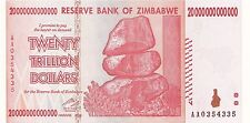 20 Trillion Zimbabwe Dollars, Uncirculated AA 2008 Pick 89, *10 50 100* MONEY.