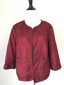 EAST-5th-Women-039-s-PXL-Blazer-Open-Front-Red-Jacket-Petite-XL-Pockets-3-4-Sleeve