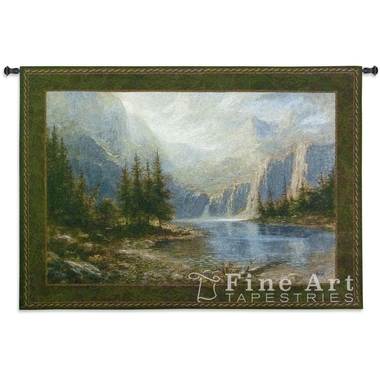 53x38 MOUNTAIN HEIGHTS Lake Trees Nature Tapestry Wall Wall Wall Hanging 62bb78