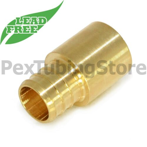 "LEAD-FREE Brass Crimp Fitting 1/"" PEX x 1/"" Male Sweat Adapter"