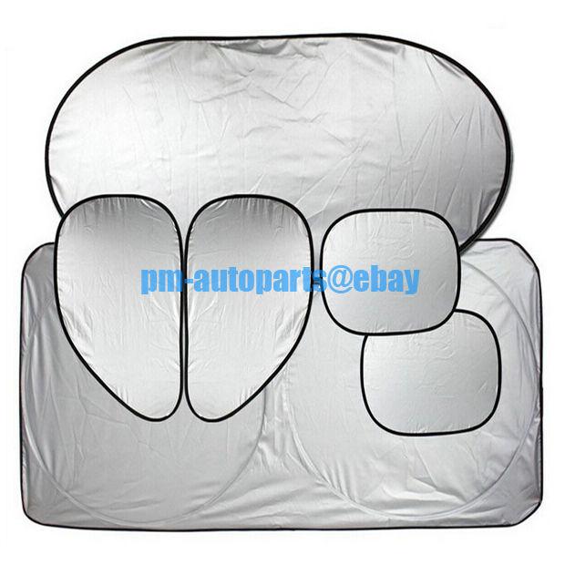 PM 6PCS Car Interior Cooling Shelter Windshield + Window Anti-UV Sun Visor Guard