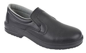 Tuffking 9313 Ladies Negro Microfibra Puntera De Acero alimentos seguros resbalón en Zapatos De Seguridad
