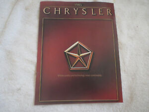 1985 CHRYSLER LASER LEBARON NEW YORKER 5TH AVENUE ORIGINAL DEALER SALES BROCHURE