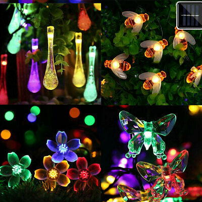 20//30//50LED SOLAR FAIRY STRING LIGHTS BEE BUTTERFLY FlOWER GARDEN PARTY OUTDOOR