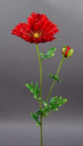 Mohnzweig 64cm rot AR Seidenblumen künstlicher Mohn Kunstblumen künstliche Blume
