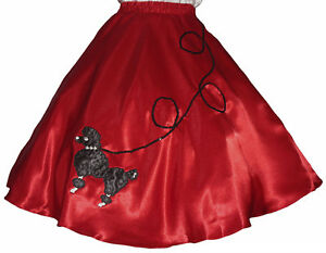 Red-SATIN-50s-Poodle-Skirt-Adult-Size-SMALL-Waist-25-034-32-034-Length-25-034