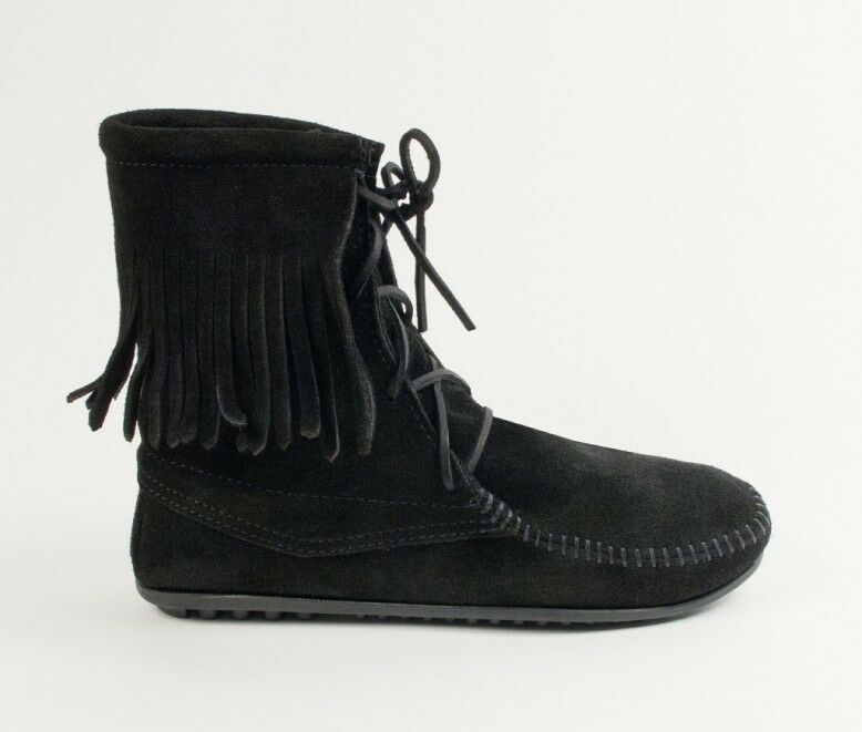 Minnetonka Tramper Boots 429 Women'S Ankle High Boot Boot Boot Hardsole Black Suede b76ab7