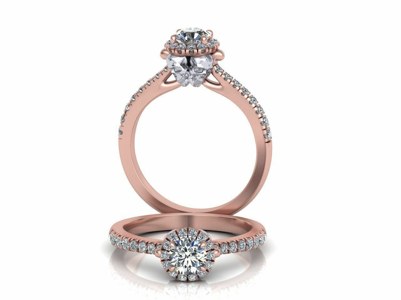 Certified 0.40ct Moissanite Skull Halo ring Engagement steampunk ring 14kt gold