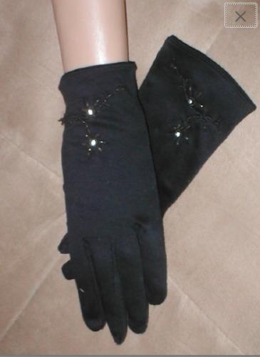 Vintage 1940's Beaded Black Cotton Dress Gloves