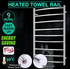 New 9 Bar Round ElectricHeated Warmer Stainless Steel Towel Rail Rack Bathroom