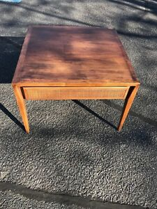 Details About Square End Side Table Mid Century Modern Made Furniture Walnut Cane Draw