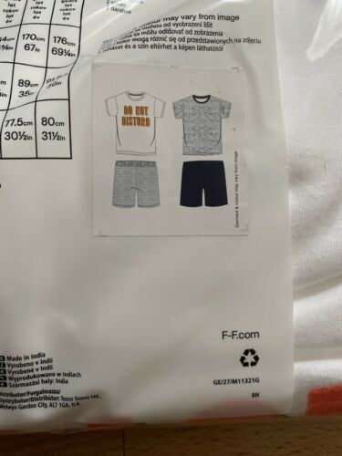 F/&F Kids Pyjamas 2 Pack Shorts /& T-Shirt Age 4-5 Years Old Brand New