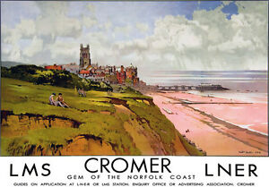 TU85-Vintage-Cromer-Norfolk-LNER-LMS-Railway-Travel-Tourism-Poster-Re-Print-A4
