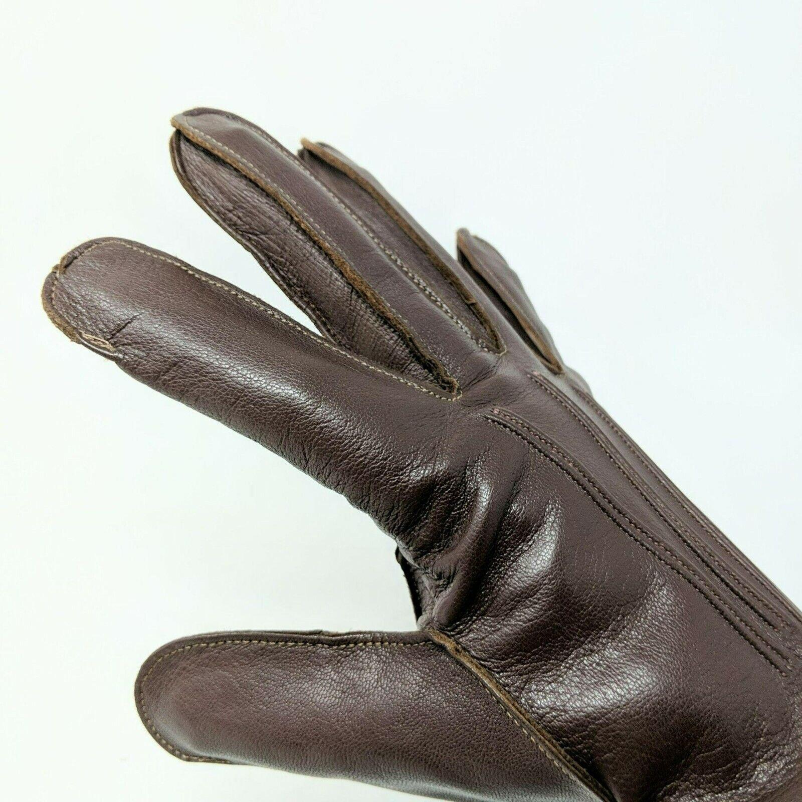 Vintage Grandoe Brown Leather Gloves Sz M/L 9-9.5 Raw Hem