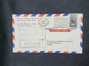 1946-Costa-Rica-Postal-History-Cover-to-PanAm-Air-45-Centimos-C83A-Stamp