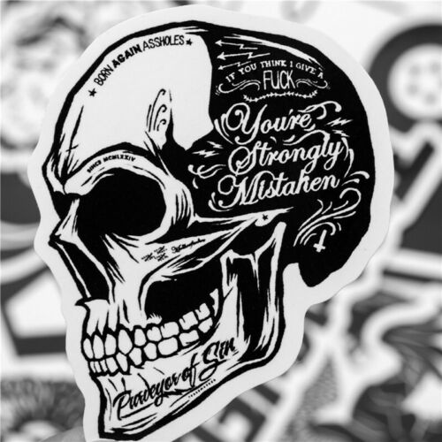 Details about  /50 Rock Black White Stickers Heavy Metal Punk Band Music Guitar Car Decal UK NEW