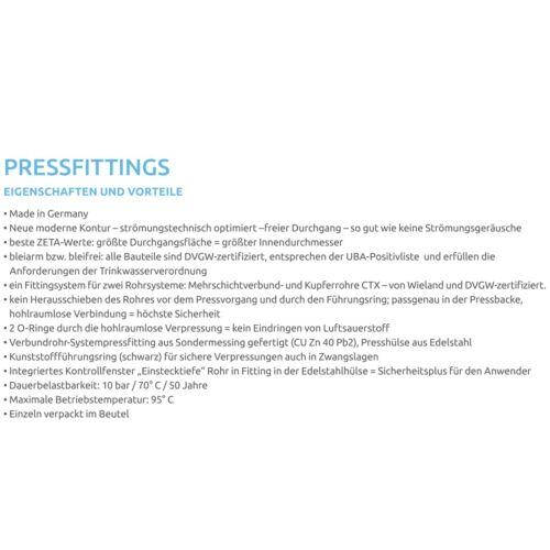 Pipetec Pressfitting Übergang Verbundrohr 26x3 auf 28mm Kupferrohr TH Kontur