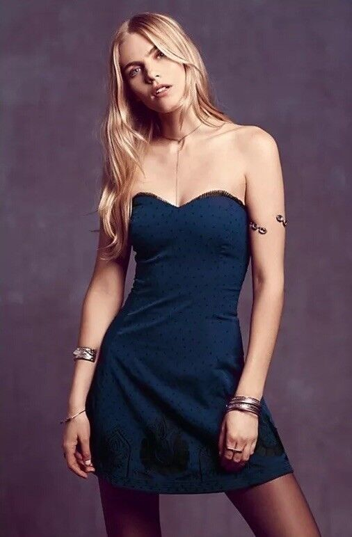 NEW Free People Very Merry Purple Embroidered Party Dress Size 8