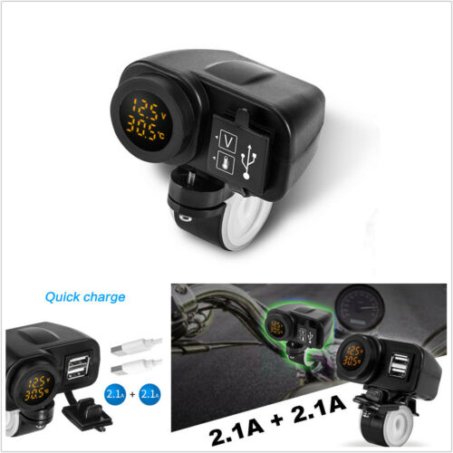 12V Yellow LED Digital Voltmeter Thermometer Dual USB Charger For Motorcycle ATV