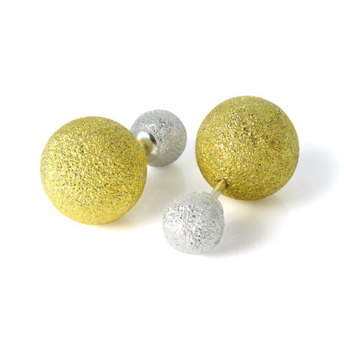 Gold Plated Sterling Silver Frosted Double Sided Heavy Ball Stud Earrings