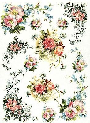 Rice Paper for Decoupage Decopatch Scrapbook Craft Sheet Vintage Petit Bouquet