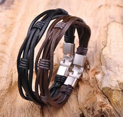 2pcs Surfer Hemp Leather Braided Mens Wristband Bracelet Cuff Black & Brown
