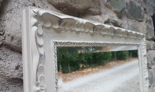 HANDCRAFTED MIRROR SHABBY CHIC ORNATE GREY STUNNING HAND FINISHED SOLID WOOD