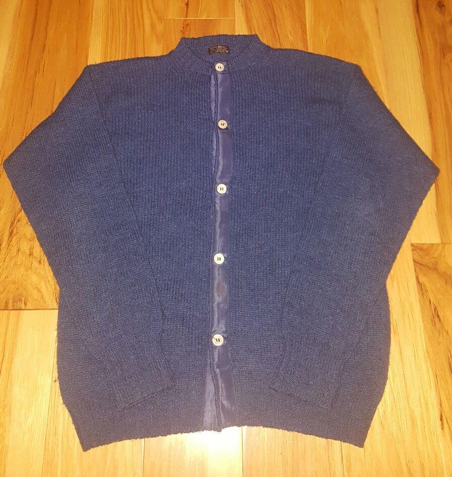 Vtg Brooks Bredhers Cardigan Grandpa Sweater 100% Wool Scotland tag size 36 bluee