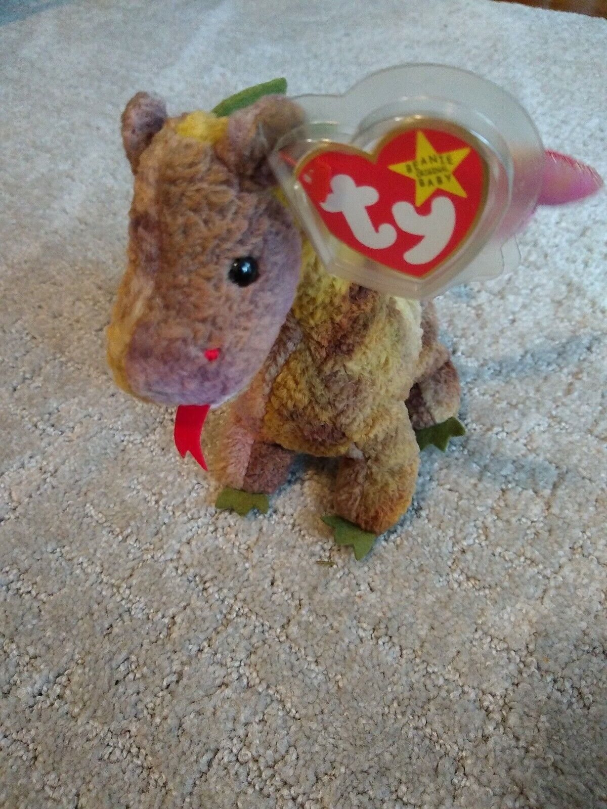 Ty Beanie Baby SCORCH the dragon 1998 Retired Rare with Errors