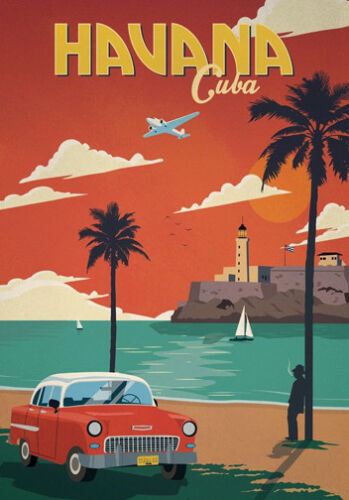 cuba travel vintage art poster A1 SIZE PRINT FOR YOUR FRAME