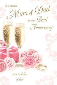 Image Is Loading Pearl Wedding Anniversary Mum Amp Dad Card 30