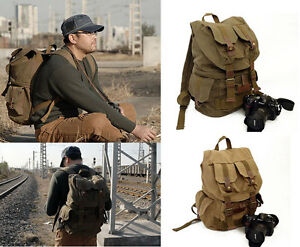 Vintage DSLR SLR Canvas Backpack Handbag Camera rucksack Bag Case ...