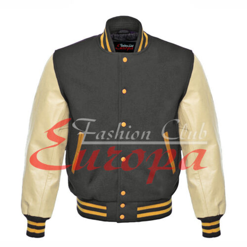 New American Beautiful Varsity College jacket with Cream Real Leather Sleeves